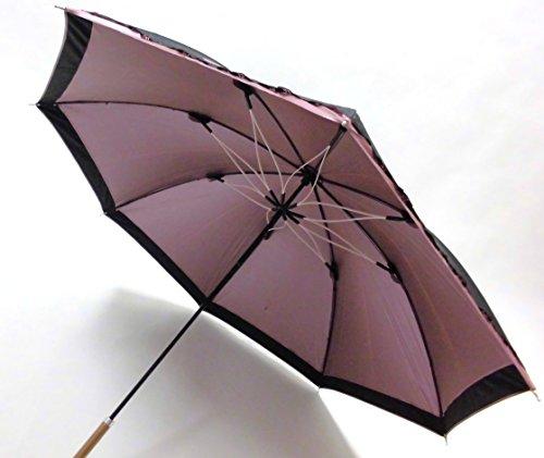 <開くと綺麗>桜骨 晴雨兼用長傘 UVチェッカー付 紫外線カット率99% (黒)