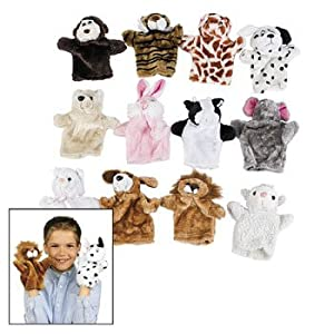 12pc - Plush soft cuddly Animal Hand Puppets - by McToy