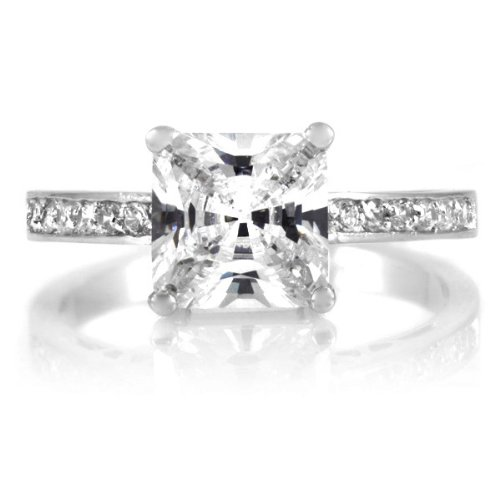 Trista's Promise Ring - Clear Princess Cut CZ .925 sterling silver jewelry, Rhodium electroplated Size 8