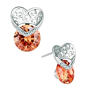 Pugster Silver Tone Nov Birthstone Topaz Yellow Crystal Heart Stud Earrings