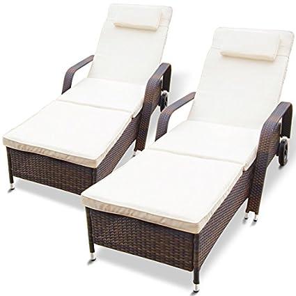 Miadomodo - Tumbona de poliratán apta para interior y exterior - disponible en juego de 2 piezas de color marrón