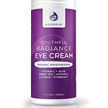 buy Youthful Radiance Eye Cream For Dark Circles & Puffiness - Anti-Aging & Wrinkles - Powerful Natural & Organic Ingredients Green Tea, Licorice, Vitamin C, Apple,Tamanu Oil, Rosehip Seed Oil - Foxbrim 1Oz
