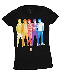 1D One Direction Overlay on Black Juniors T-Shirt by Global