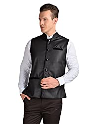 FDN Men's Jute Waistcoat(BLK775_Black_XL)