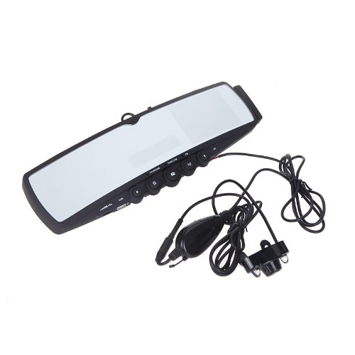 """Car Bluetooth Handsfree Rearview Mirror 3.5"""" Tft Backup Camera Built-In Microphone And Speaker With Mp3 Player Fm Transmitter"""