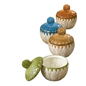 Grasslands Road Indian Summer 10-Ounce Tureen, 6-Inch by 5-Inch, 4 Colors, Set of 4 by Grasslands Road