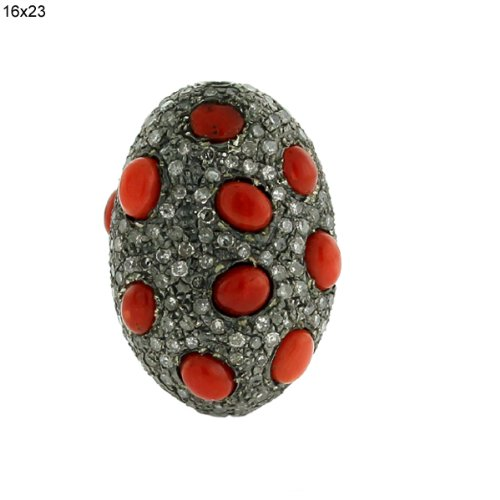 24*16*11mm Oval Shape Diamond Pave Coral Bead .925 Sterling Silver Jewelry