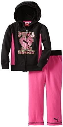 PUMA Girls 2-6X Toddler Champion Hoodie Set, Black, 2T