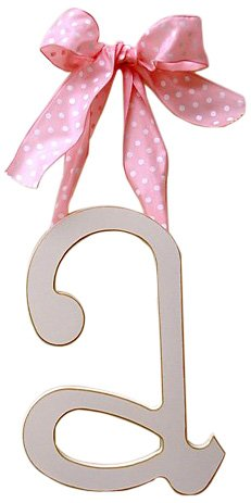 New Arrivals Wooden Letter A with Pink Polka Dot Ribbon, Cream