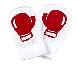 Spoilt Rotten - Red Boxing Gloves - 100% Organic Cotton Baby Scratch Mittens