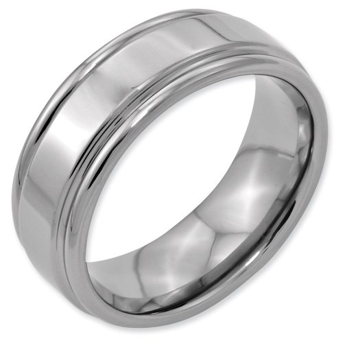 Titanium Grooved Edge 8mm Polished Band Ring Size 14.5 Real Goldia Designer Perfect Jewelry Gift for Christmas