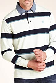 Blue Harbour Twin Striped Long Sleeve Polo Shirt [T28-2533B-S]