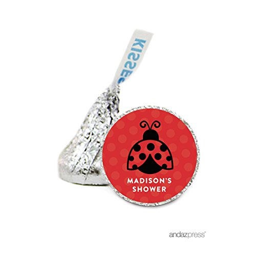 Andaz Press Personalized Chocolate Drop Labels Stickers Single, Baby Shower, Ladybug, 216-Pack, For Hershey's Kisses Party Favors, Gifts, Decorations, Custom Name, Birthday (Personalized Elmo Gifts compare prices)