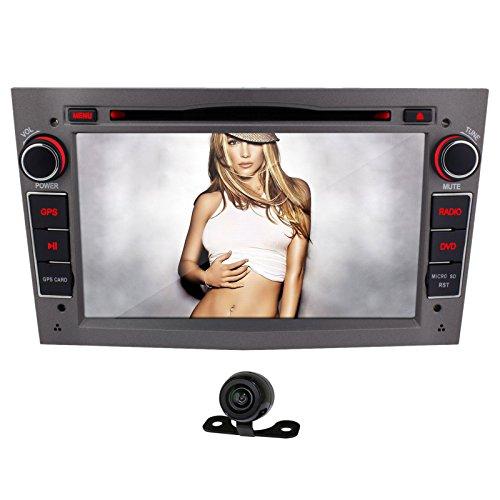 YiNuo 2DIN Autoradio GPS Sat Nav Navigation 7 zoll für Vauxhall / Opel Corsa 2006-2011, Vectra 2005-2008, Antara 2006-2011, Meriva 2006-2008, Astra 2004-2009, Vivaro 2006-2010, Zafira 2005-2010 mit Bluetooth, DVD-Player, iPod bis zum Iphone 6P und USB / SD-Funktion AV IN + Rückfahrkamera, Grau