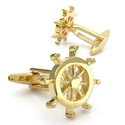 KONOV Jewelry 2pcs Rhodium Plated Classic Helm Men's Shirts Cufflinks Wedding, Color Gold, 1 Pair Set