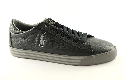 POLO RALPH LAUREN HARVEY black scarpe uomo sneakers pelle 43