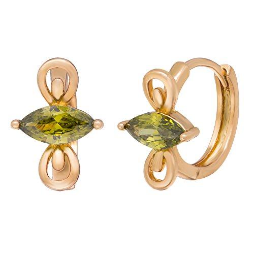 Vanghe & mazze, placcato oro 18 k, Infinity Loop-Orecchini in cristallo ovale, colore: verde scuro
