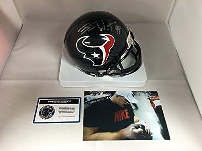 JJ Watt Signed Autographed Houston Texans Mini Helmet COA & Hologram W/Photo From Signing
