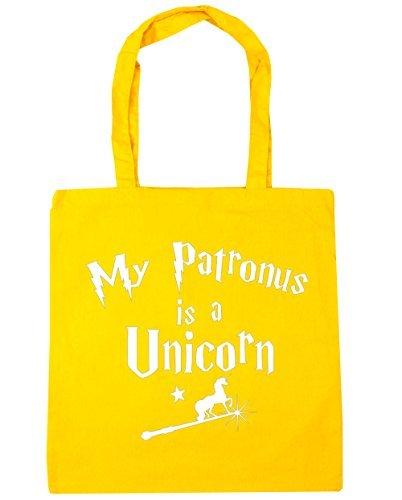 HippoWarehouse My Patronus è un Unicorn Borsa grande Spesa Palestra Borsa Da Spiaggia 42cm x38cm, 10 litri - cotone, Giallo, 100% cotone 100% cotone, Donna, One size