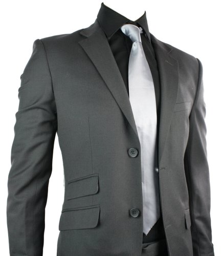 Mens Wool Blend Charcoal Grey Suit Short Regular & Long Office Wedding