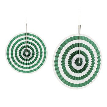 Green Striped Hanging Fans - Christmas Party Supplies & Decorations & Party Decorations