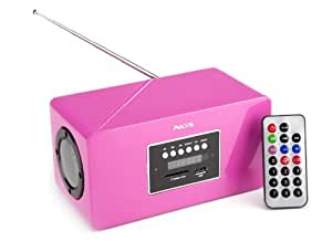 NGS Roomy Fuchsia - Radio MP3 con radio FM, USB/SD, color fucsia