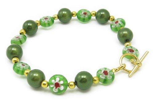 AM5885 Unique Millefiori Style Green Glass Bead Bracelet by Dragonheart – 20cm