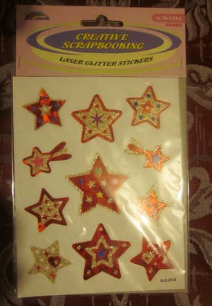 Dynamic Creative Scrapbooking Laser Glitter Star Stickers Blue Or Red Colors May Vary