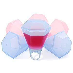 Shot Glass Ring Set for Bachelorette Party, Bridal Shower or Girls' Night Out - Perfect Capacity - With Closing Lid (6pcs, Pink & Blue)