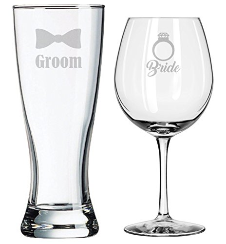 Wedding Glasses - Bride Groom - Wedding Set - Couples Gifts - Engagement Gift - Diamond Engagement Ring - Original Wedding Gifts - Toasting Glasses - Custom Wedding - Personalized - Handmade