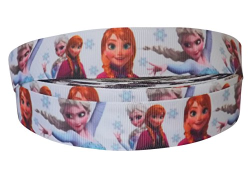 Pimp My Shoes - Nastro in tessuto gros grains per torte, pacchi regalo e decorazioni, 2 m x 22 mm, motivo: principesse di Frozen/fiocchi di neve