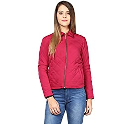 Quilted Women'S Jacket In Marsala Color With Front Zipper