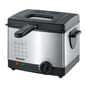 Severin FR 2419 Friggitrice, acciaio, 1,5 litri, quantità di frittura 350 grammi, 1300 W, colore: Acciaio-Nero