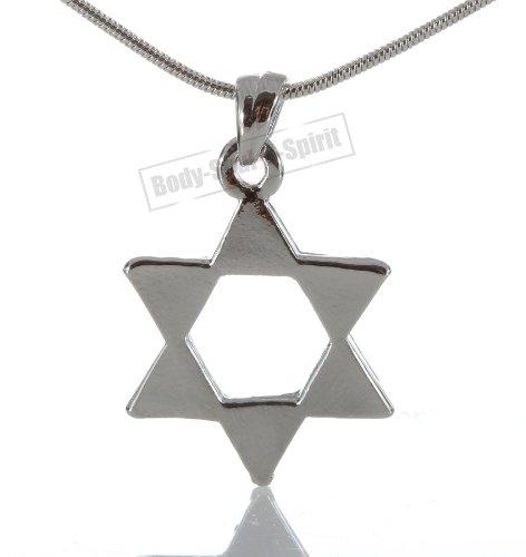 """Star Of David"" Pedent Jewish Kabbalah Silver Plated Lucky Charm Necklace Judaica"