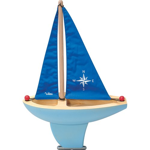 Vilac Wooden Sail Boat Baby Toy, Blue, Large