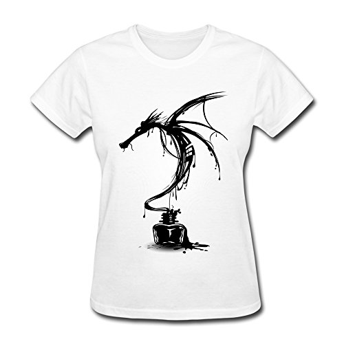 Lule'X Ink Dragon Lady Shirt,White 100% Cotton T-Shirts Small