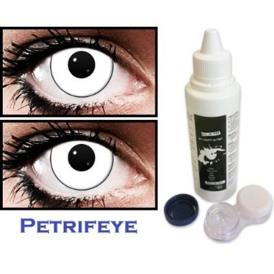 Marilyn Manson Non Prescription (2 lenses in pack) Fashion Halloween Contact Lenses By Petrifeye Eyes With Free 120ml Solution And Blue/White Soaking Case