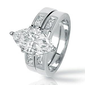 1.36 Carat Marquise Cut / Shape 14K White Gold Classic Channel Set Princess Cut Diamond Engagement Ring ( D-E Color , VS2 Clarity )
