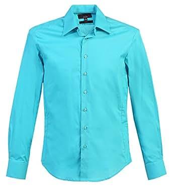 Studio 10 Mens Slim Fit Cotton Stretch Dress Shirt Aqua