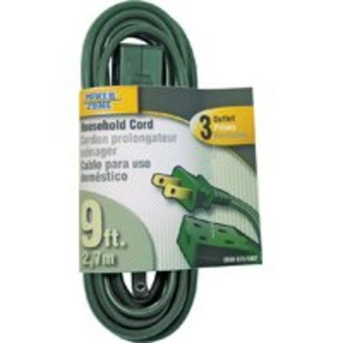 Power Zone Or780609 Extension Cord 16/2 Spt-2, 9-Feet, Green