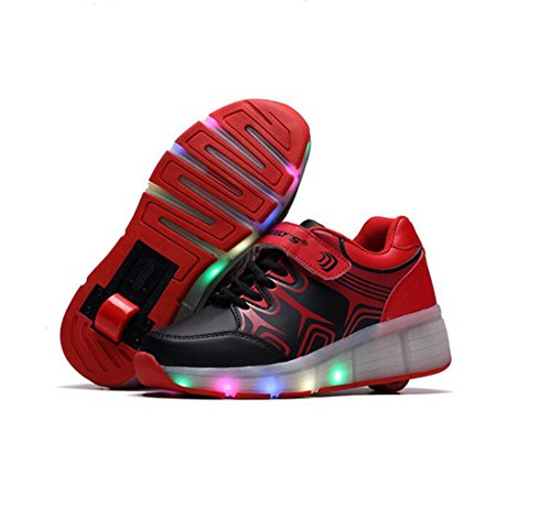 Heelys - Scarpe per bambini con ruote 7 colore LED Light Up Leather Shoes Luminous Cuir Sneakers per ragazze per uomo donna, Nero (nero), 32