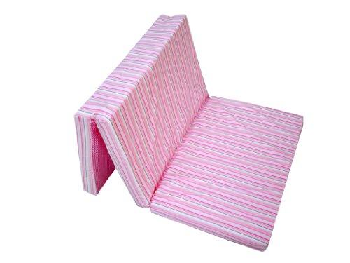 7140160200 Reisebettmatratze 60x120 cm, klappbar - Streifen rosa