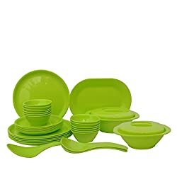 Incrizma Plastic Round Plate and Bowl Set, 32-Pieces, Lime Green