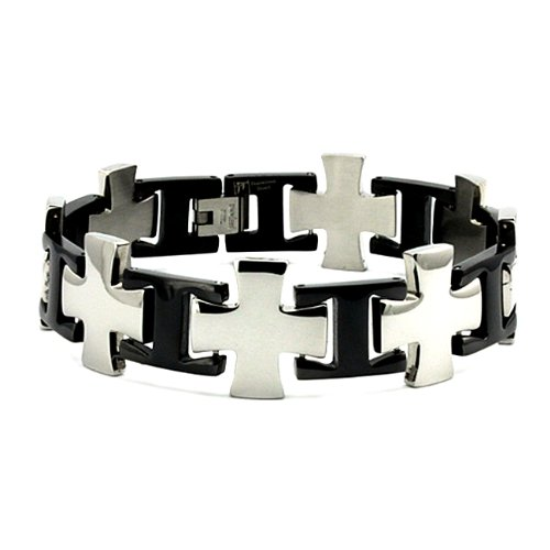 Two-Tone Stainless Steel Men's Cross Link Bracelet (20mm Wide) 9 Inches