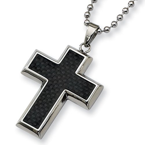 Chisel Black Carbon Fiber Polished Stainless Steel Cross Necklace on 22 Inch Bead Chain