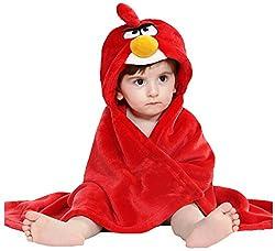 BRANDONN Red Premium Hooded Blanket cum Wrapper for Babies (red)