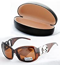 Brown Polarized DG Eyewear Womens Designer Sunglasses With Black Case