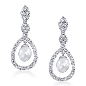 Bling Jewelry Great Gatsby Inspired Pearl Pave CZ Silver Teardrop Chandelier 8mm