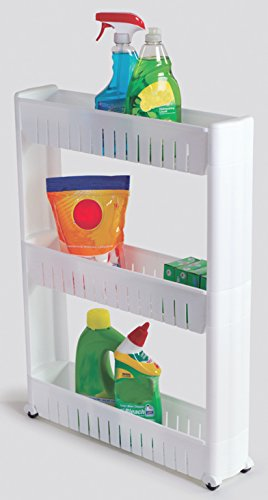 Slim Storage Cabinet Organizer Rolling Pull Out Cart Rack Tower with Wheels - 3 Shelf - Shelving Ideas Solutions for Narrow Spaces in Laundry Kitchen Bathroom Apartments Closets by Perfect Life Ideas (Pull Out Pantry Cabinet compare prices)
