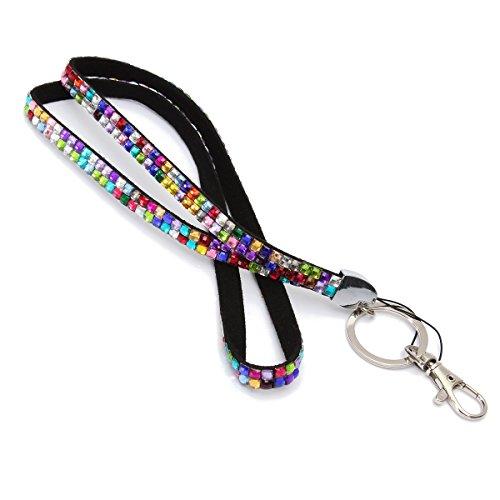 AUDEW Custom di strass cinghia cordino per ID Badge portachiavi Rainbow